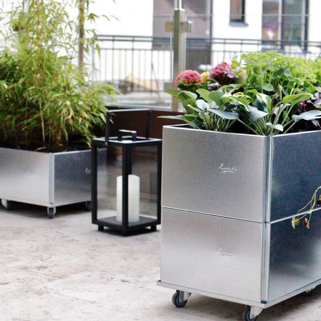 Square kasser fra land blomsterkasser i utformingen av Chrispdesign Stockholm
