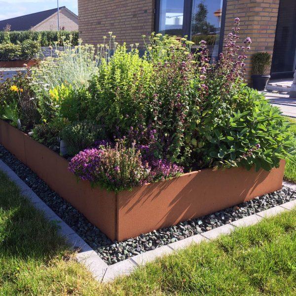 Høybed og plantekasse fra LandHage.no som ramme om urtene