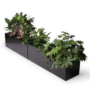 Land Black stor avlang plantekasse i svart aluminium