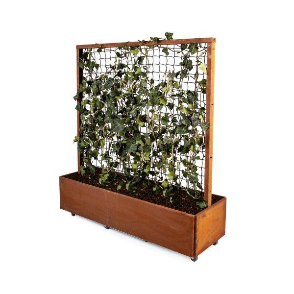 Land Classic plantekasse med espalier fra LandHage.no i rust