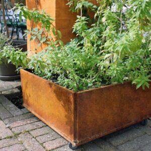 Land Classic plantekasse med hjul i råjern med rust fra LandHage.no