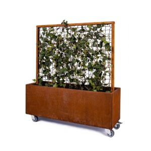 Land Modern blomsterkasse med espalier og hjul i corten fra LandHage.no